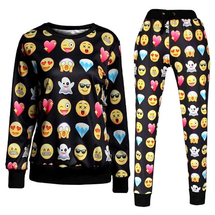 Encontrar Más Pantalones y Capris Información acerca de New Emoji estilo divertido de chándal de dibujos
