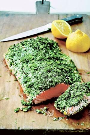 INA GARTEN'S ROASTED SALMON WITH GREEN HERBS. Eat more wild salmon, this is the perfect recipe.