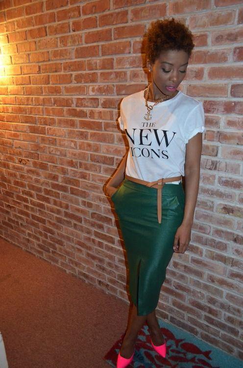 tshirt & leather (?) pencil skirt