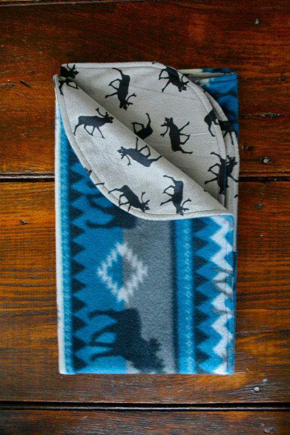 Southwestern Moose Baby Blanket / Moose Baby Bedding / by Weepeetz