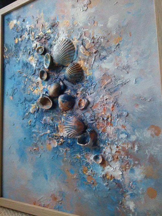 * Willkommen Sie in das Meer * Dies ist reich abstrakte Mischtechnik Leinwand Gemälde, strukturierter mit Strandsand, Farbe, Freude, Steine und Muscheln... Die Geschichte beginnt mit einzigartigen pristine Muscheln, die ich am Strand gefunden haben. Als ich sie nach Hause mit mir gebracht, merkte ich, dass sie die Leinwand zum Leben zu erwecken. In diesem Gemälde das Leben ist wie ein Märchen :) * Aus dem Meer... Maße (Rahmen): 42 x 52 x 3,5 cm, 16,5 x 20,5 x 1,5 in MEDIUM: Louvre Acrylf...