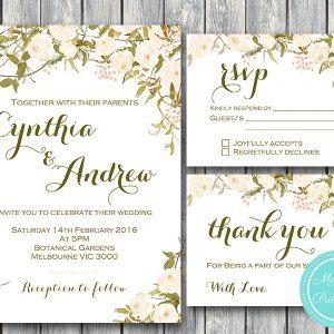 Custom Ivory Floral Wedding Invitation Set-RSVP-Thank you-Printable Invitation #babyshowerideas4u #birthdayparty  #babyshowerdecorations  #bridalshower  #bridalshowerideas #babyshowergames #bridalshowergame  #bridalshowerfavors  #bridalshowercakes  #babyshowerfavors  #babyshowercakes