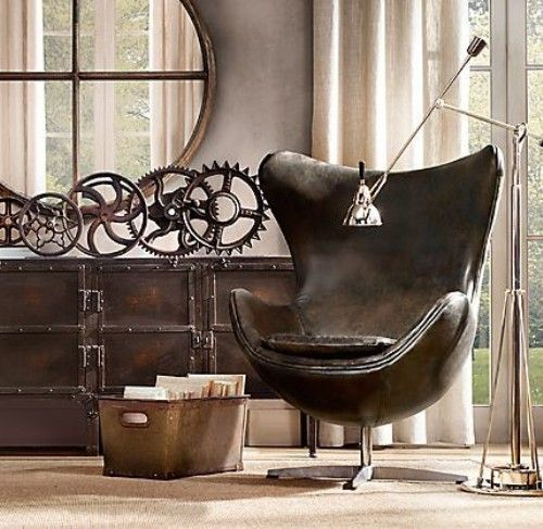 #industrialdesign #vintage The use of vintage styled cog accents along with a distressed coffee brown leather mid century modern chair