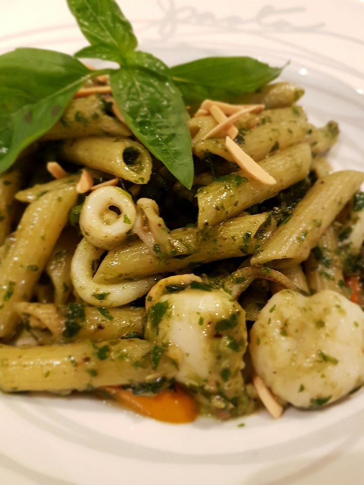 Spicy Seafood Penne Pesto Sauce