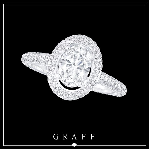"""Love Collection"" 1.03ct Oval Cut with Round Pavé Diamond Shank & Surround.  #graffdiamonds #graff #bridal #wedding #engagement #ring"