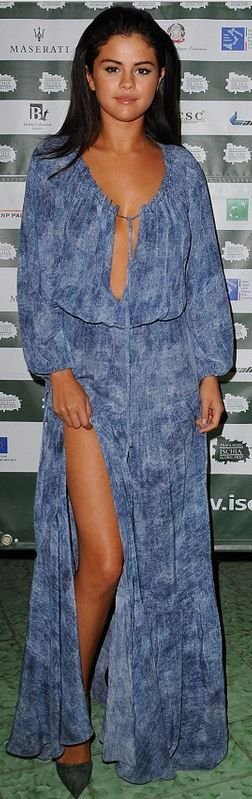 Who made Selena Gomez's long sleeve blue print maxi dress that she wore in Italy…