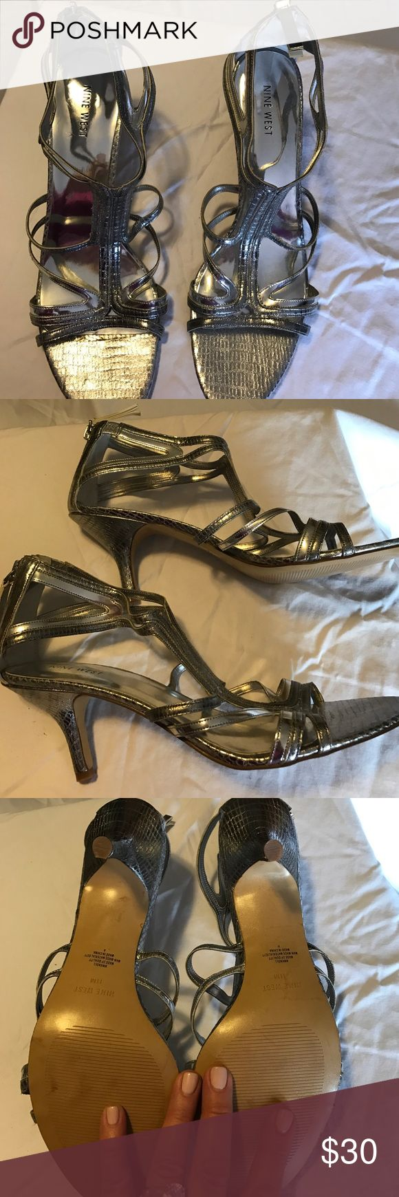 Nine West Silver Strappy Sandals None West Strappy Silver Sandals, Brand New Shoes Heels