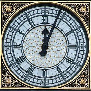 The Face of Big Ben on the Tower of the Palace of Westminster, London, England