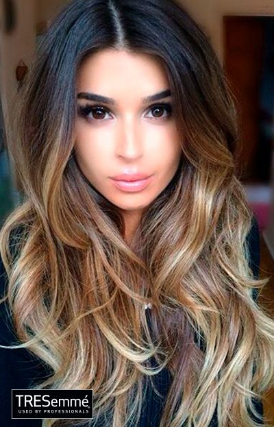 Ombré Hair Color Black to Blonde With Waves #TRESemmé