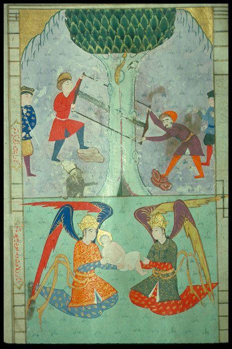 TitleZacharias and John  CategoryOttoman Turkish Miniature Paintings  Object NameHusayni, Sadr al-Din Ali ibn Nasir, fl. 1180-1225. Akhbar al-dawlah al-Saljuqiyah