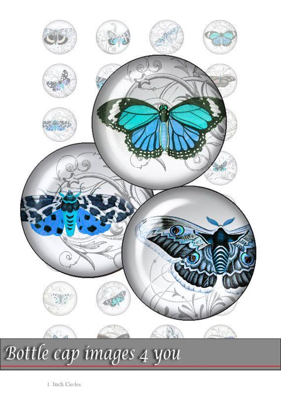 Collage digitale foglio - blu farfalle - immagini di tappo di bottiglia  Immagini digitali stampabili per vostro mestiere: bottiglia tappi,
