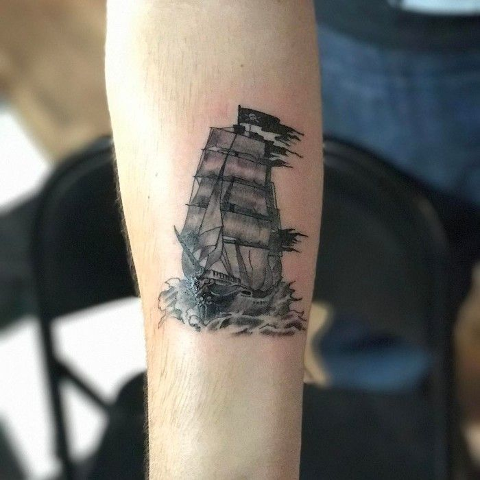 Pirate Ship Tattoo by plakaso_chops
