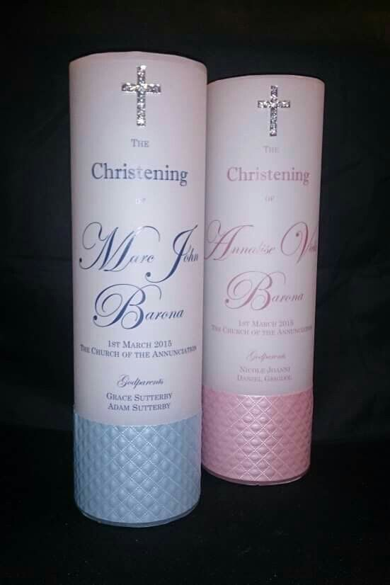 Christening Candles with Diamante Cross.  Invitations, decorations and other wedding stationary made to order by From Missy With Love www.frommissywithlove.com