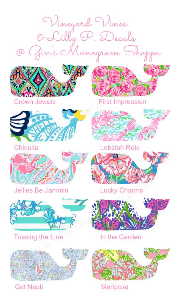 Vineyard Vines meets Lilly Pulitzer whale by GinsMonogramShoppe. I have to show these to one of my best friend's mom. Because she absolutely LOVES Lilly Pulitzer and vineyard vines.