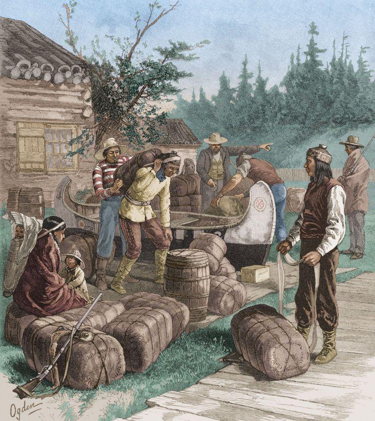 Trading at a Hudson's Bay Company trading post. Manitoba