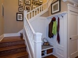 Painted trim...hallway nookCoats Hooks, Traditional Staircas, Ideas, Mudroom, Coats Racks, Staircas Design, Mud Room, House, Stairs Design