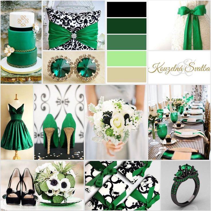 Kombinace smaragdové s černou, bílou a zlatou. Černá berva použitá v ornamentech a pruzích působí velice elegantně.