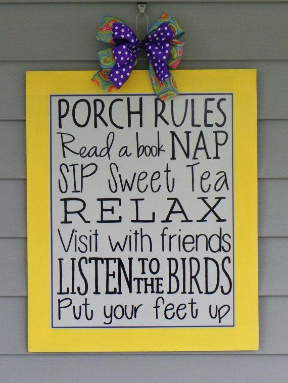 Porch Rules Sign, Door Hanger, Summer Decor, Subway Art via Etsy