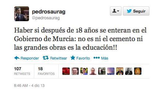 La crítica de Saura al nivel educativo en Murcia incluye una falta de ortografía