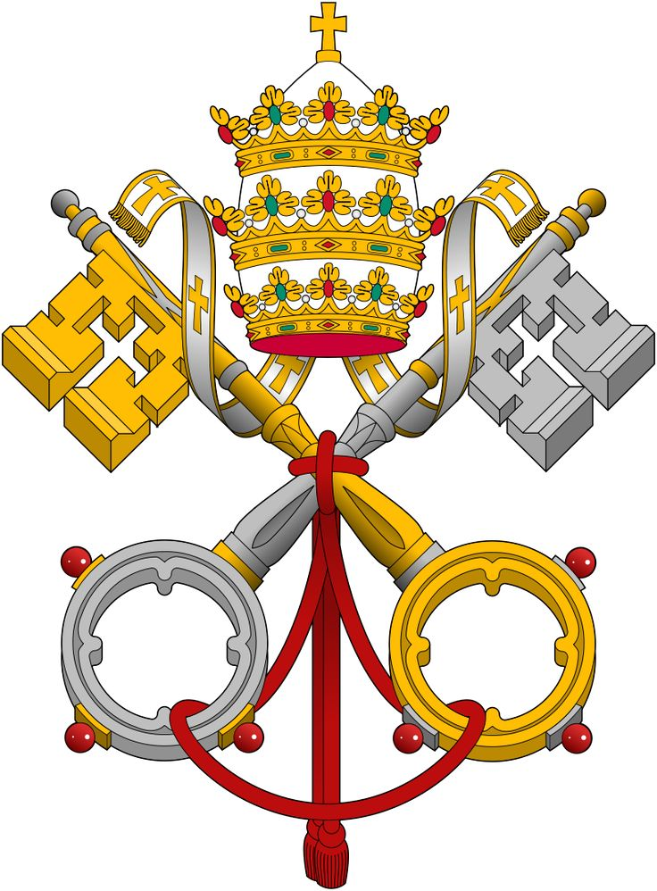 Emblem of the Holy See: Gules, two keys in saltire or and argent, interlaced in the rings or, beneath a tiara argent, crowned or