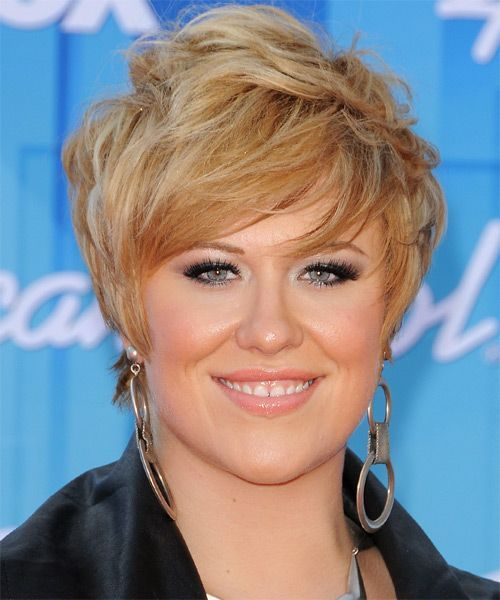 Erika Van Pelt Short Straight Formal Hairstyle with Side Swept Bangs  Golden Blonde Hair Color with Light Blonde Highlights