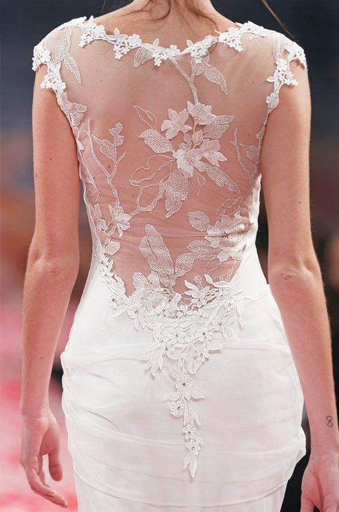 Illusion flowered wedding dress back from Claire Pettibone, Spring 2013