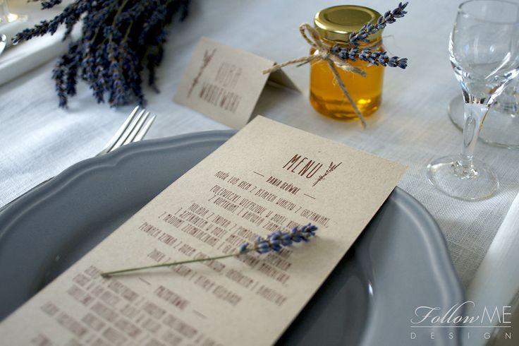 Winietki / Karty menu z lawendą, Podziękowanie dla gości - mini miodziki z lawendą / Rustykalne Dekoracje ślubne od FollowMe DESIGN / Wedding Place Card / Menu card with Lavender / Wedding Favors - Honey Jar Favors with Lavender / Rustic Wedding Decorations & Details by FollowMe DESIGN