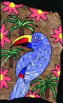 Geography for Kids: lesson will focus on Amate Bark Paintings one of the many Folk Arts of the Latin American Culture.