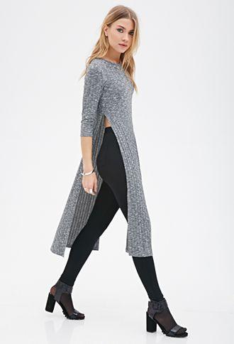 Heathered High-Slit Dress | Forever21.