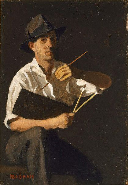 Self-Portrait (c.1923)  by Herbert Badham (Australian 1899-1961)  oil on canvas on hardboard m 30.5 x 21.5 cm