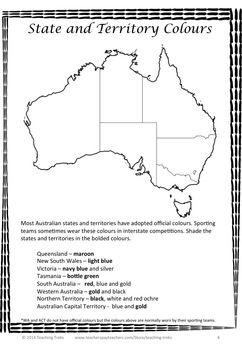 AUSTRALIAN GEOGRAPHY FREEBIE - mapping activity related to Australian State and Territory colours.
