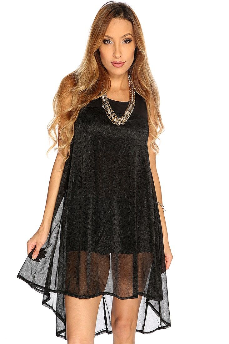 This little black dress includes; sheer overlay, round neckline, sleeveless, high low hem, and fitted. 100% Polyester.