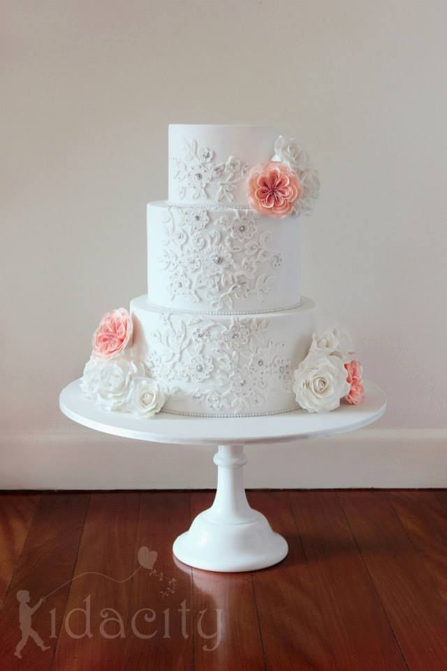 Pink  White, Roses  Lace Cake