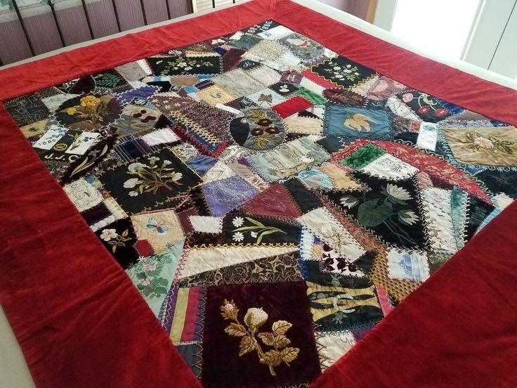 Antique Collector Beaded Crazy Quilt 1880's Original Design Good Condition | Antiques, Linens & Textiles (Pre-1930), Quilts | eBay!