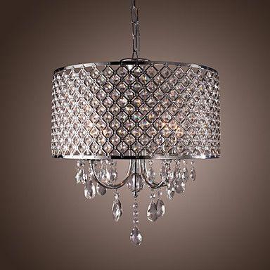 moderne 4 - licht hanglampen met kristallen druppels in ronde - EUR € 179.99