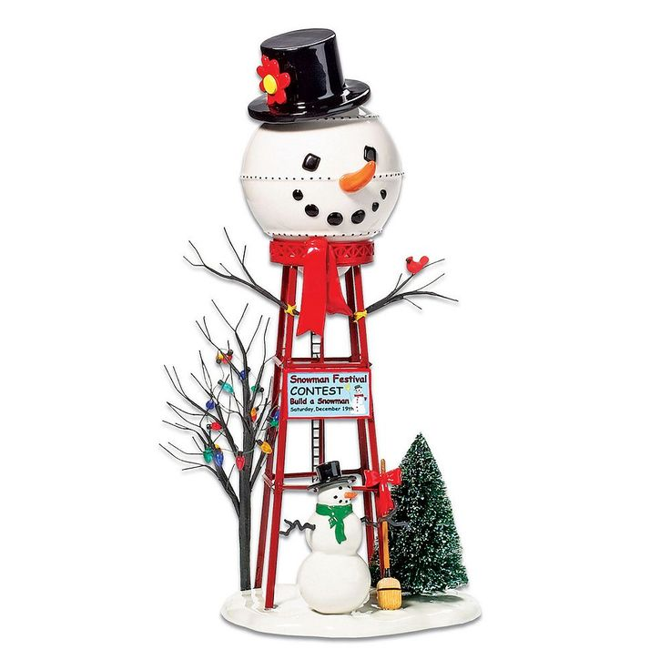Department 56 Snowman Water Tower Village Decor, Multicolor