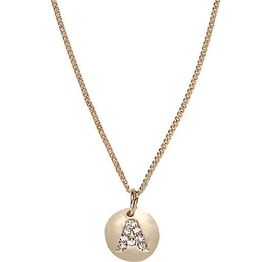 Gold tone diamante A initial necklace #riverisland