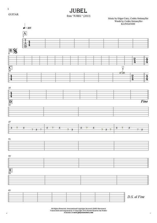 Jubel sheet music by Klingande. From album Jubel (2013). Part: Tablature for guitar.
