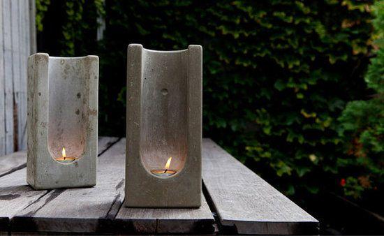 concrete tea lights