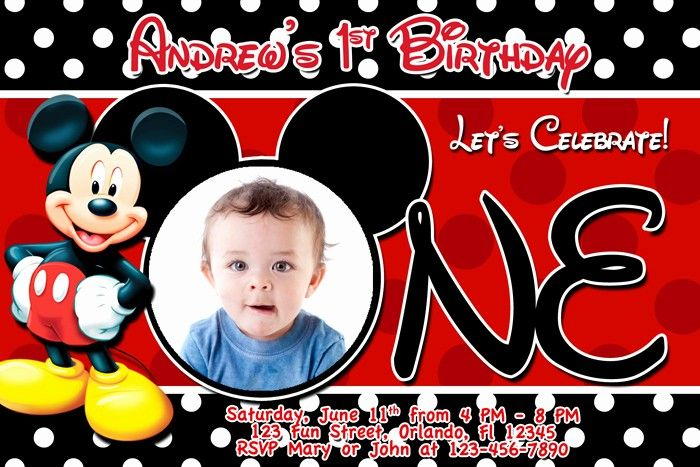 Mickey Mouse Clubhouse Invitation Template Free Mickey Mouse Birthday Invitations Mickey Mouse 1st Birthday Mickey Mouse Clubhouse Birthday