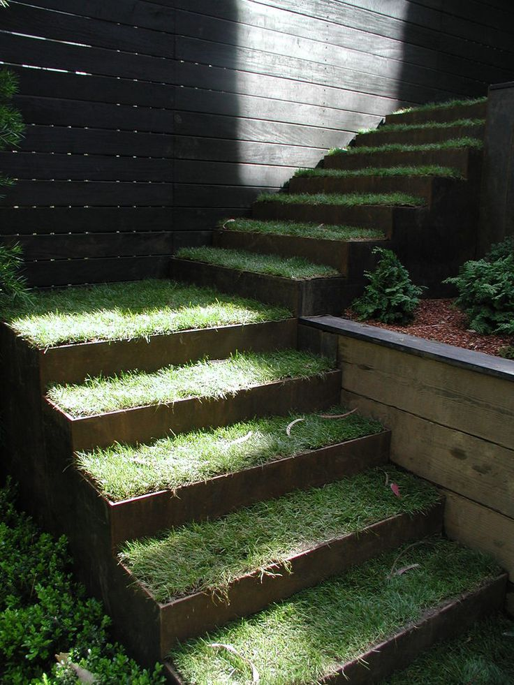 Corten step and sod