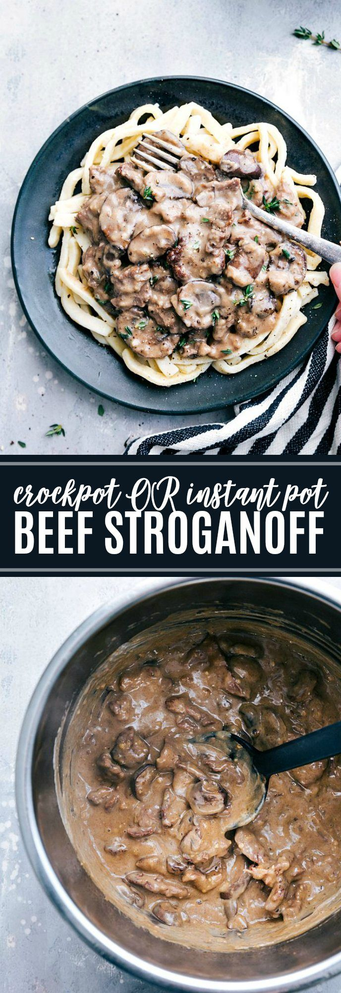 Insanely good BEEF STROGANOFF made in the instant pot OR crockpot. Delicious and easy! via chelseasmessyapron.com | #instantpot #crockpot #slowcooker #beef #stroganoff #delicious #kidfriendly #dinner #quick #30minutes #beef #chuckroast #creamcheese #best #ever