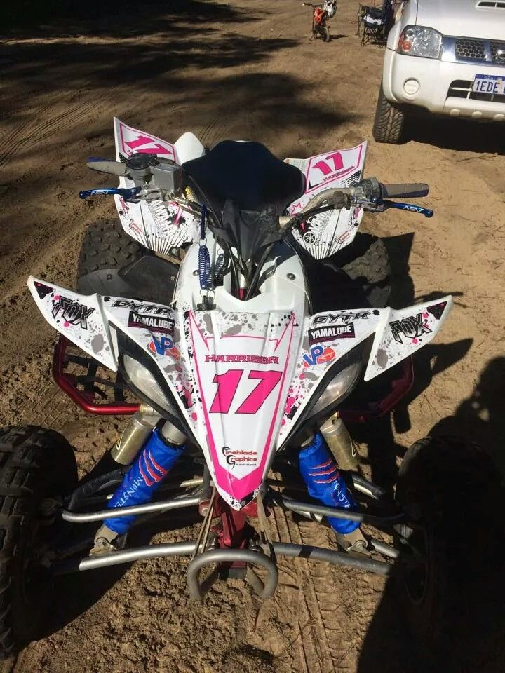 Yamaha YFZ450 pink fox racing atv graphics kit. Kit by Fireblade Graphics and Signs. Like us on Facebook to see all our kits and to purchase them from our Facebook store.