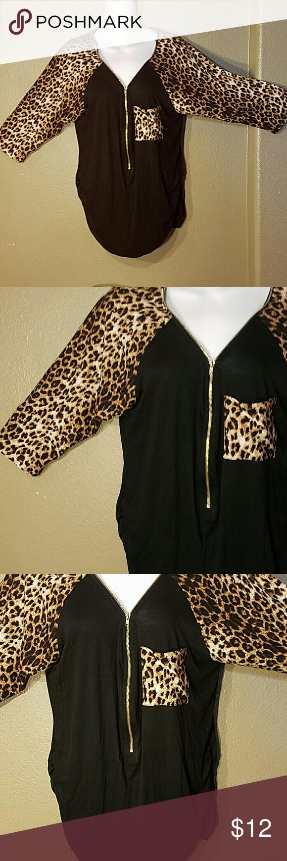 Libian animal print zip up 3/4 sleeve blouse 2XL Like new #a Libian  Tops Blouses