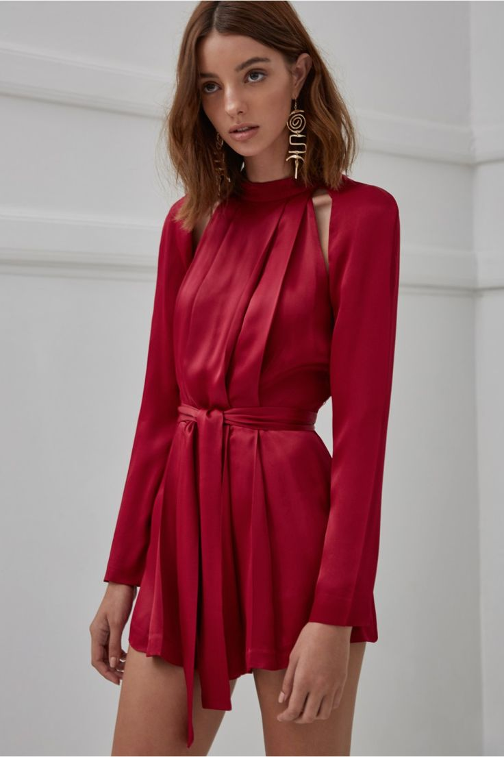 C/MEO COLLECTIVE CAN'T RESIST LONG SLEEVE PLAYSUIT