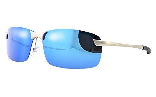 LZXC 偏光サングラス ミラーサングラス アンチグレア UV400 金属フレーム メンズ ブルーレンズ LZXC…