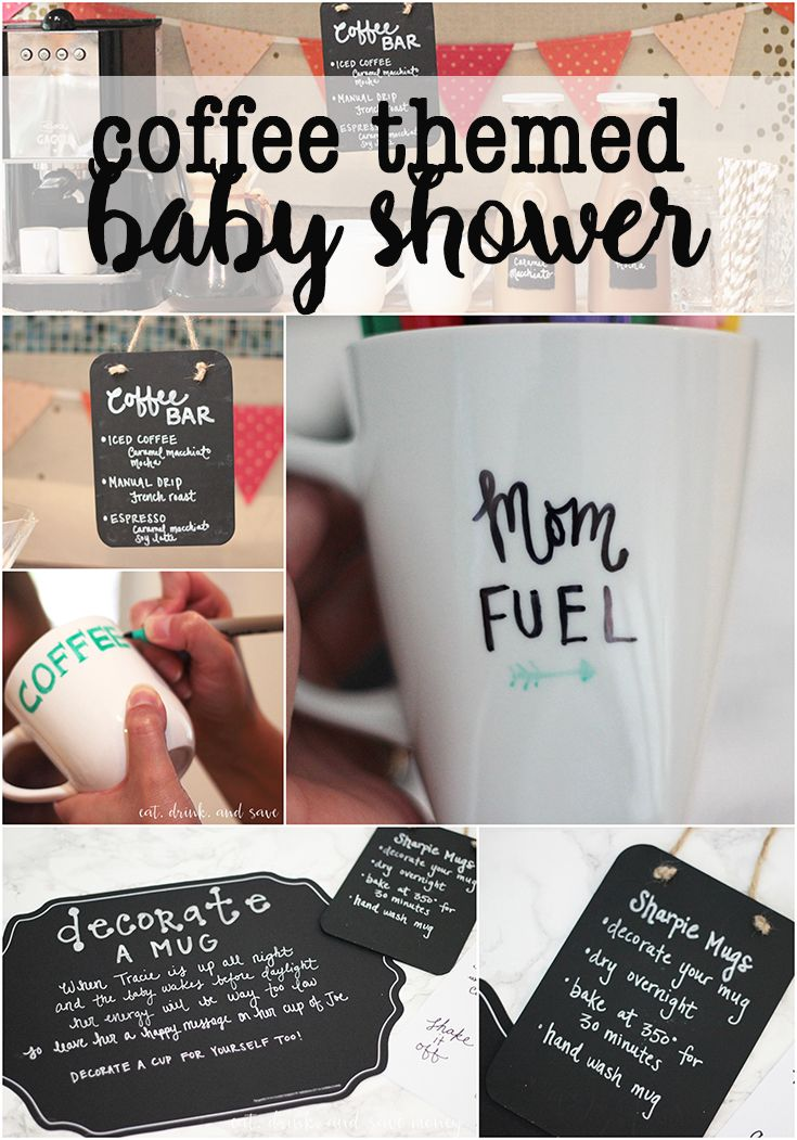 See how this blogger put together a fun coffee themed baby shower for her friend. There is a fabulous coffee bar and a tutorial for DIY Sharpie coffee mugs.   Coffee themed baby shower http://eatdrinkandsavemoney.com/2016/08/15/coffee-themed-baby-shower/  #SuperAbsorbent #collectivebias #ad #babyshower