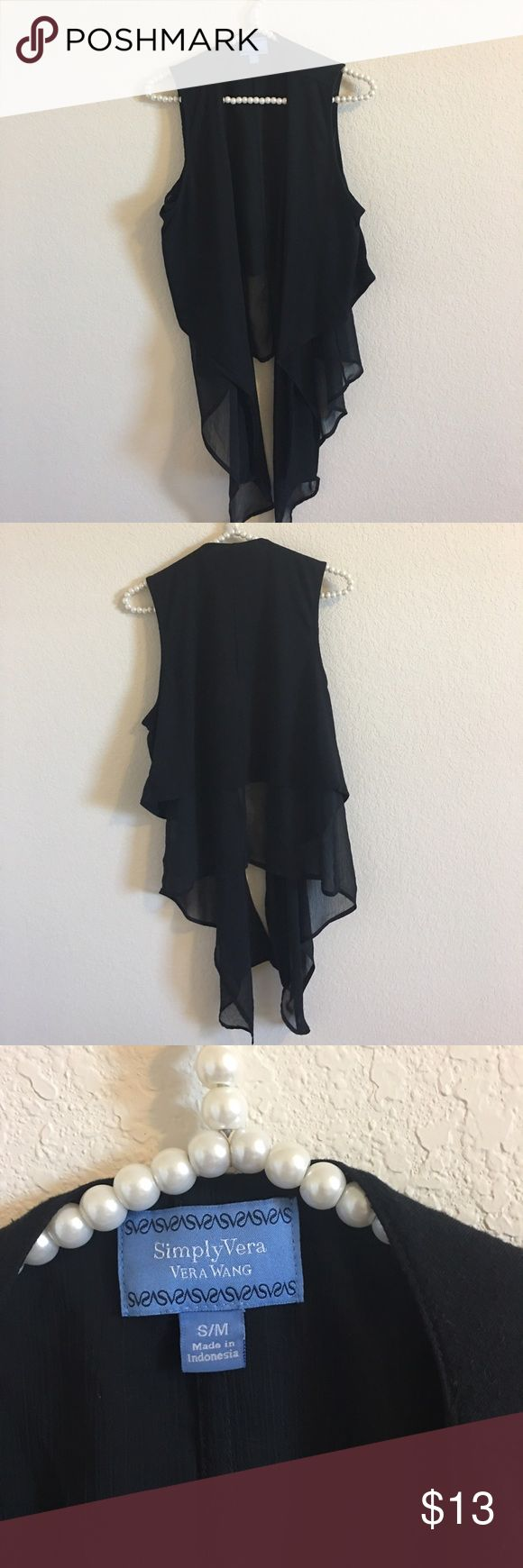 Simply Vera flowy vest Simply Vera by Vera Wang flowy light-weight cover up. Great to dress up a t-shirt or tank top and jeans. Great condition, no visible damage. Size Small/Medium. Simply Vera Vera Wang Tops Tank Tops