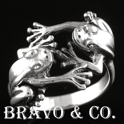 SIZE 12 Hallmark 925 Solid Sterling Silver Unique Green Tree Frogs Ring R-015