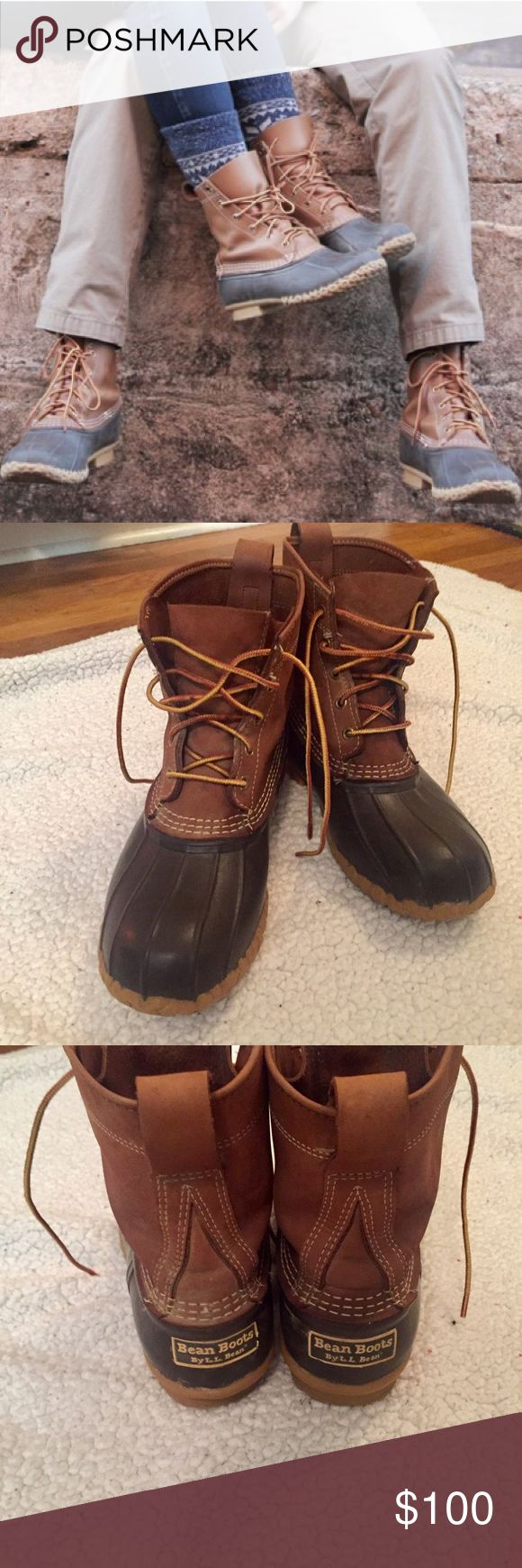 Bean boots/Duck boots • L.L. Bean The traditional L.L. Bean duck boots. These boots have been loved but now are worn in for comfort. Women's 9.5. Price negotiable. No trades L.L. Bean Shoes Rain & Snow Boots